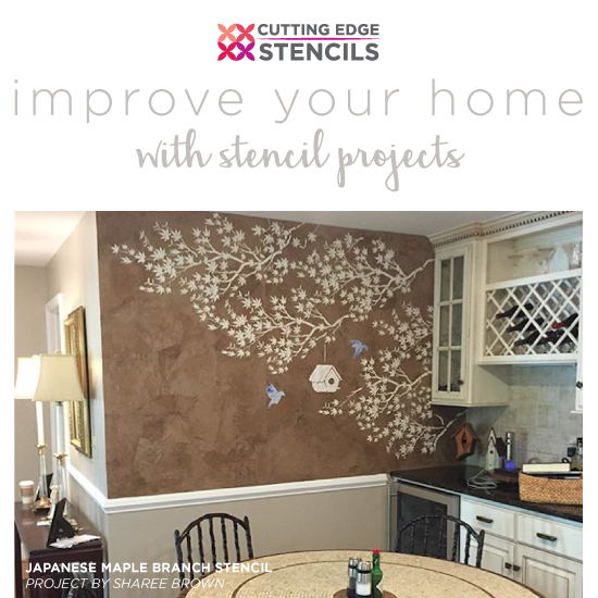 Improve your home with stencil projects cutting edge stencils diy stenciled accent wall home decor projectsg solutioingenieria Image collections