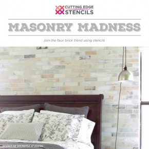 Cutting Edge Stencils shares DIY home decor and room ideas using our Herringbone Brick and classic Brick patterns. http://bit.ly/BrickStencils