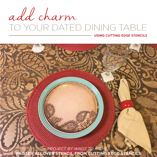 add charm to your dated dining table using stencils