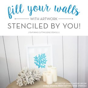 Cutting Edge Stencils shares how to stencil DIY artwork for your blank walls using craft stencils. http://www.cuttingedgestencils.com/beach-style-decor-coral-stencil.html