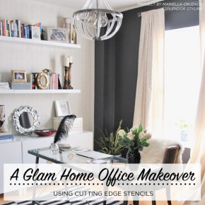 A Glam Home Office Makeover Using Stencils