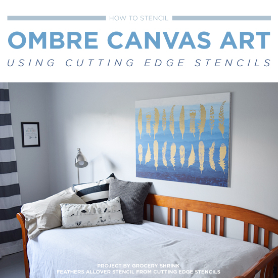 How To Stencil Ombre Canvas Art Using A Stencil   Stencil Stories Stencil  Stories