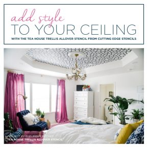 Cutting Edge Stencils shares a DIY master bedroom makeover with a stenciled ceiling using the Tea House Trellis Stencil. http://www.cuttingedgestencils.com/tea-house-trellis-allover-stencil-pattern.html