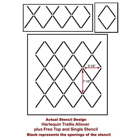 The Harlequin Trellis Stencil from Cutting Edge Stencils. http://www.cuttingedgestencils.com/trellis-stencil-harlequin.html