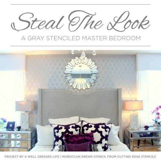 steal the look a gray stenciled master bedroom stencil