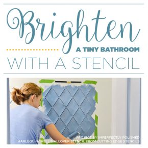 Cutting Edge Stencils shares A DIY stenciled bathroom makeover using the Harlequin Trellis Allover Stencil. http://www.cuttingedgestencils.com/trellis-stencil-harlequin.html