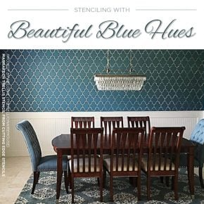 Cutting Edge Stencils shares beautiful blue room ideas and home decor accessories. http://www.cuttingedgestencils.com/wall-stencils.html