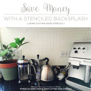 Cutting Edge Stencils shares a DIY stenciled kitchen backsplash makeover using the Myriad Stencil. http://www.cuttingedgestencils.com/myriad-modern-wall-pattern-stencil.html