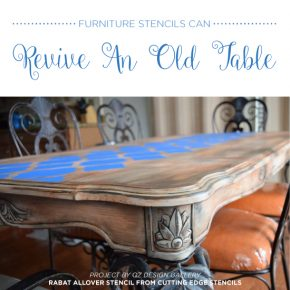 Cutting Edge Stencils shares how to makeover an old table using furniture stencils like the Rabat Craft Stencil. http://www.cuttingedgestencils.com/rabat-furniture-fabric-stencil.html