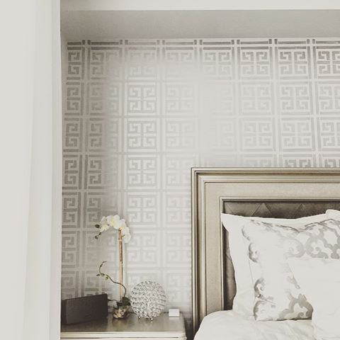 A stunnign bedroom accent wall stenciled with the Athena Allover Stencil from Cutting Edge Stencils for a wallpaper look. http://www.cuttingedgestencils.com/wallpaper-stencil-athena.html