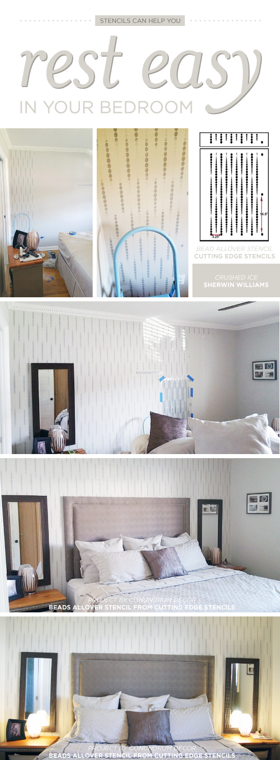 stencils can help you rest easy in your bedroom stencil stories cutting edge stencils shares a diy stenciled bedroom makeover using the beads allover wall pattern