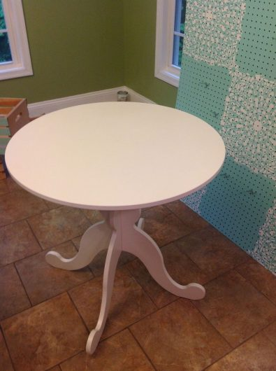 A small white Ikea Hemnes table gets a stenciled makeover. http://www.cuttingedgestencils.com/lace-stencil-wall-decor-stencils.html