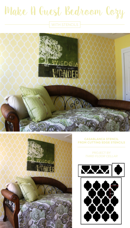 A yellow and white stenciled guest bedroom accent wall using the Casablanca Allover Stencil, a popular Moroccan wall pattern, from Cutting Edge Stencils. http://www.cuttingedgestencils.com/allover-stencils.html