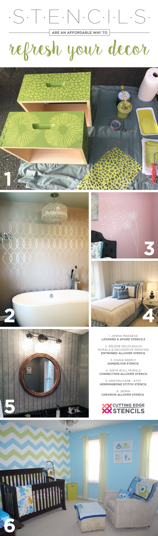 Cutting Edge Stencils shares DIY home decorating ideas using wall and craft stencil patterns. http://www.cuttingedgestencils.com/stencil-patterns-featured-stencils.html