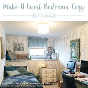 Cutting Edge Stencils shares DIY stenciled guest bedroom ideas using wall patterns to make them welcoming and cozy. http://www.cuttingedgestencils.com/allover-stencil-for-walls.html