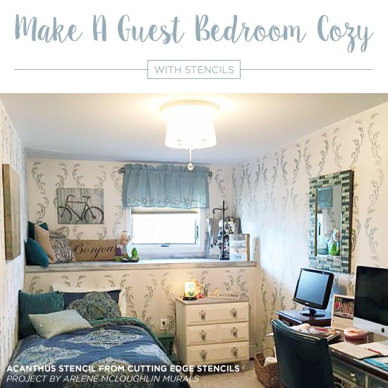 Cutting Edge Stencils Shares DIY Stenciled Guest Bedroom Ideas Using Wall  Patterns To Make Them Welcoming