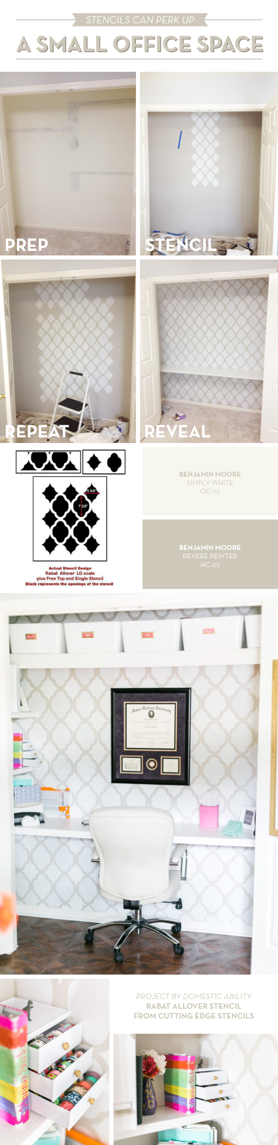 closet office space. Cutting Edge Stencils Shares A DIY Stenciled Closet Turned Office Makeover Using The Rabat Allover Wall Space