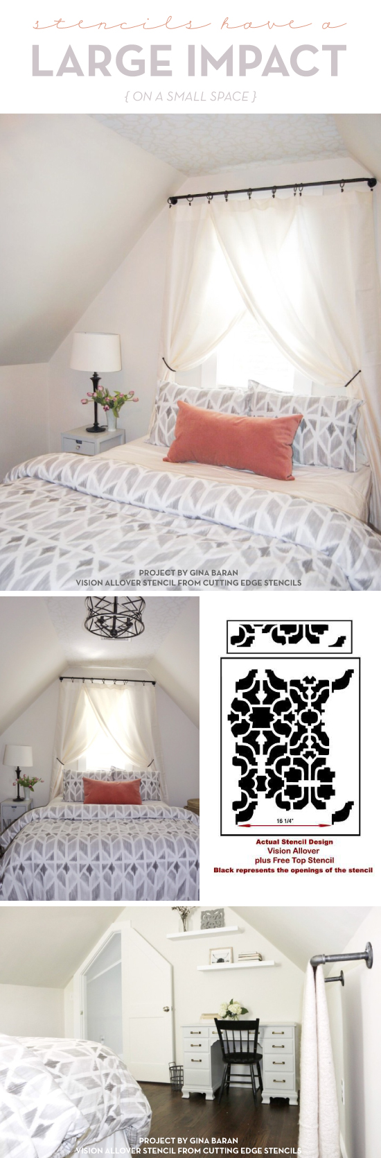 Cutting Edge Stencils shares a DIY guest bedroom makeover featuring a stenciled ceiling using the Vision allover wall pattern. http://www.cuttingedgestencils.com/vision-craft-stencil.html