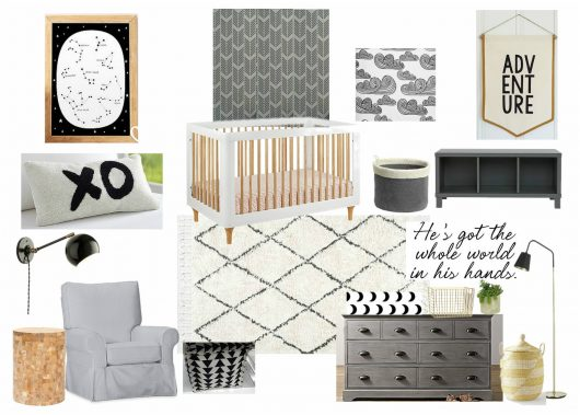 A serene and peaceful grey, white, black nursery design board featuring the Drifting Arrows wall pattern from Cutting Edge Stencils. http://www.cuttingedgestencils.com/drifting-arrows-stencil-pattern-diy-decor.html
