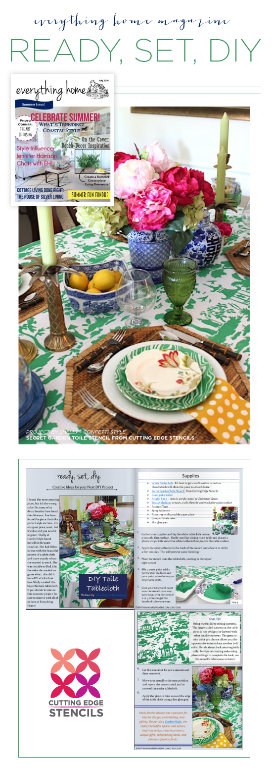 Cutting Edge Stencils was featured in home decorating magazines using our allover stencils to for DIY projects. http://www.cuttingedgestencils.com/garden-toile-stencil-chinoiserie-wallpaper.html