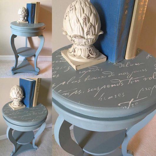 A DIY stenciled table using the French Poem Craft Stencil, a typography pattern, from Cutting Edge Stencils. http://www.cuttingedgestencils.com/french-poem-diy-craft-stencil-design.html