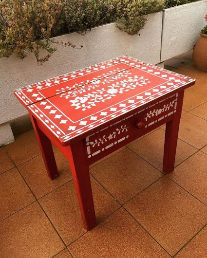 A stenciled side table using the Indian Inlay Stencil Kit from Cutting Edge Stencils. http://www.cuttingedgestencils.com/indian-inlay-stencil-furniture.html