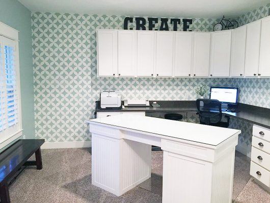 A stenciled home office/craft room using the Nagoya Allover Stencil, a Japanese inspired wall pattern, from Cutting Edge Stencils. http://www.cuttingedgestencils.com/japanese-stencil-nagoya.html