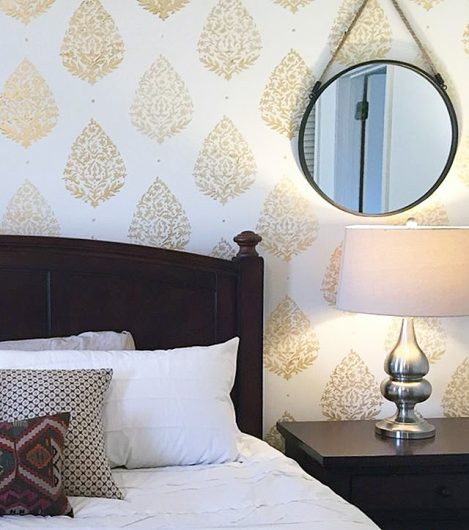 A stenciled bedroom accent wall using the Sari Paisley Allover stencil pattern from Cutting Edge Stencils. http://www.cuttingedgestencils.com/sari-paisley-allover-stencil.html