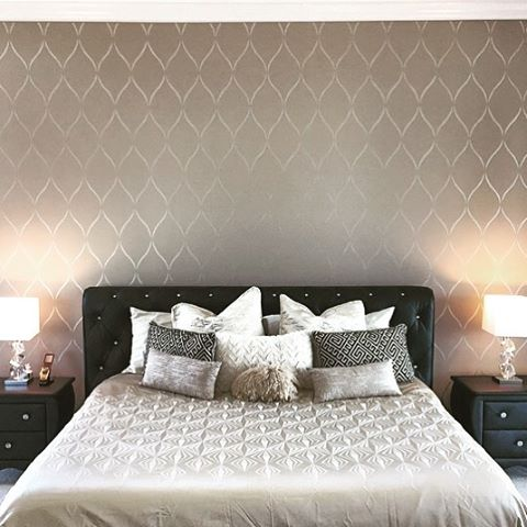 A gorgeous bedroom accent wall stenciled with the Serenity Allover Stencil, a popular trellis wall pattern, from Cutting Edge Stencils. http://www.cuttingedgestencils.com/serenity-allover-stencil-trellis-design-wall-pattern-diy-decor.html