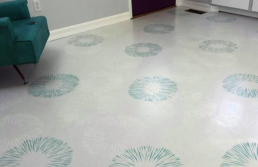 A stenciled floor using the Spore Print Allover Stencil from Cutting Edge Stencils. http://www.cuttingedgestencils.com/spore-print-stencil-wall-decor.html