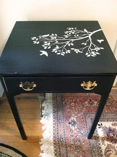 An easy and affordable furniture makeover using the Spring Songbirds Craft Stencil, a furniture stencil, from Cutting Edge Stencils. http://www.cuttingedgestencils.com/spring-songbirds-DIY-craft-project-stencils.html