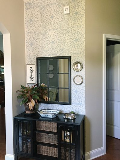 A DIY stenciled entryway accent wall using the Stephanie's Lace Allover Stencil from Cutting Edge Stencils. http://www.cuttingedgestencils.com/lace-stencil-wall-decor-stencils.html