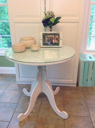 A stenciled Ikea table using the Stephanie's Lace Stencil, a popular lace pattern, from Cutting Edge Stencils. http://www.cuttingedgestencils.com/lace-stencil-wall-decor-stencils.html