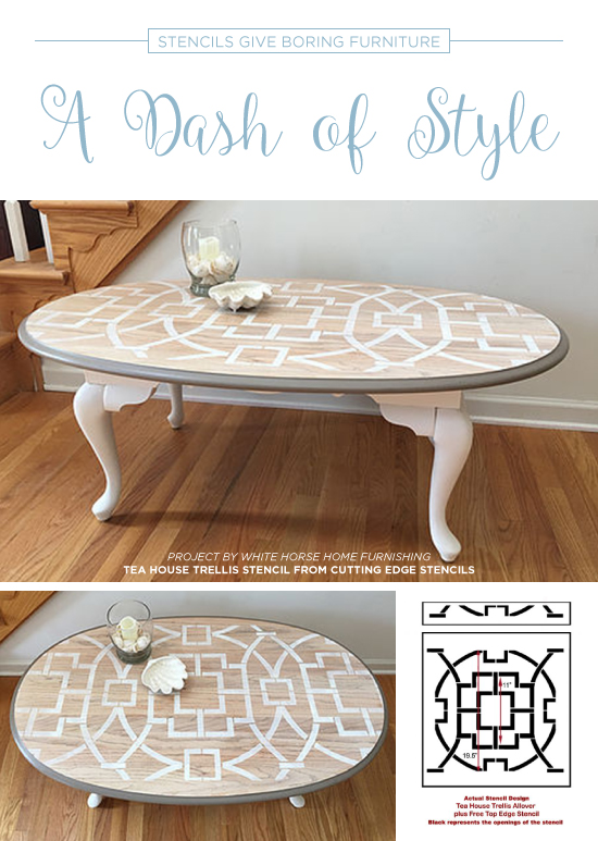 A Painted Table Makeover Using The Tea House Trellis Stencil, A Large  Geometric Wall Pattern