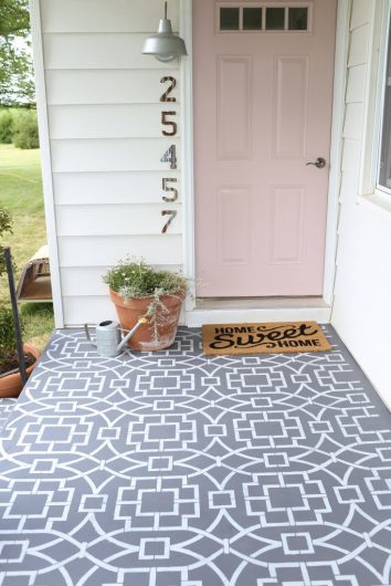 diy painted and stenciled cement porch using a geometric allover. Black Bedroom Furniture Sets. Home Design Ideas