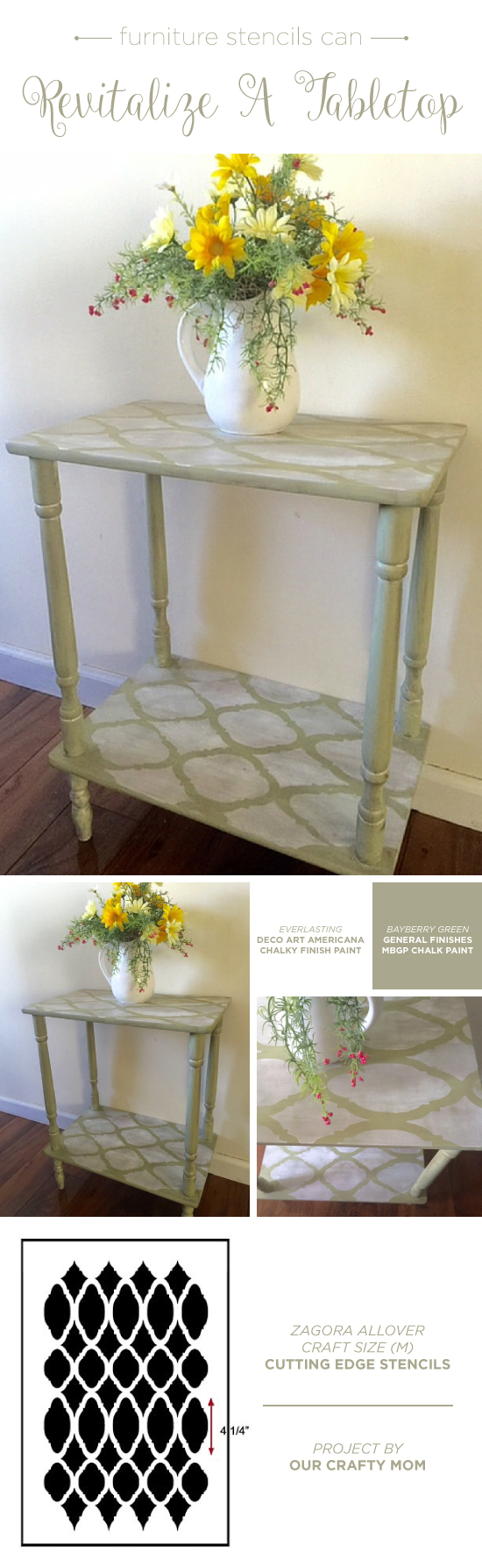A DIY Moroccan Stenciled And Painted Table Using The Zagora Furniture  Stencil From Cutting Edge Stencils