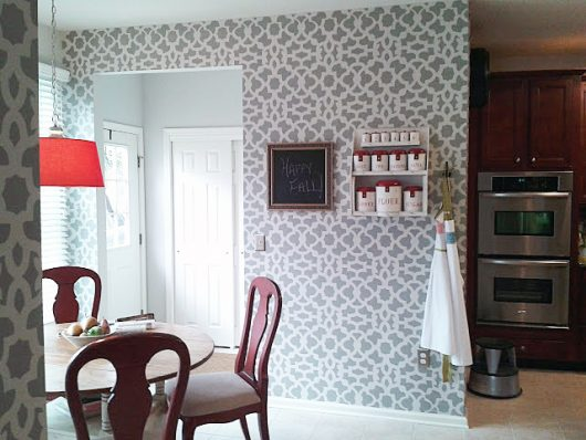A gray and white stenciled kitchen nook using the Zamira Allover Stencil, a popular Moroccan wall pattern, from Cutting Edge Stencils. http://www.cuttingedgestencils.com/moroccan-stencil-designs.html