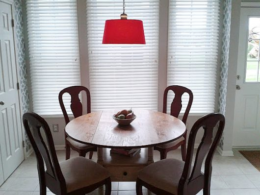 A gray and white stenciled breakfast nook using the Zamira Allover Stencil, a popular Moroccan wall pattern, from Cutting Edge Stencils. http://www.cuttingedgestencils.com/moroccan-stencil-designs.html