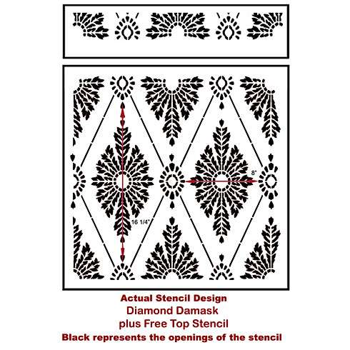 The Diamond Damask Stencil from Cutting Edge Stencils. http://www.cuttingedgestencils.com/damask-stencil-pattern.html