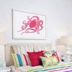 The Octopus wall art stencil from Cutting Edge Stencils. http://www.cuttingedgestencils.com/octopus-stencil-nautical-stencils-beach-decor.html