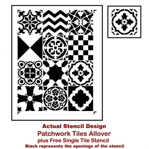 The Patchword Tile Stencil Pattern from Cutting Edge Stencils. http://www.cuttingedgestencils.com/patchwork-tile-pattern-stencil-wall-tiles.html