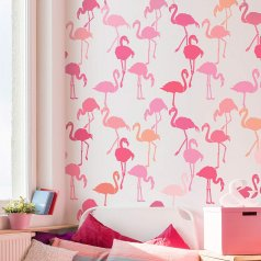 A Flamingo Allover Stencil from Cutting Edge Stencils. http://www.cuttingedgestencils.com/flamingo-stencil-wallpaper-flamingos-stencil-pattern.html