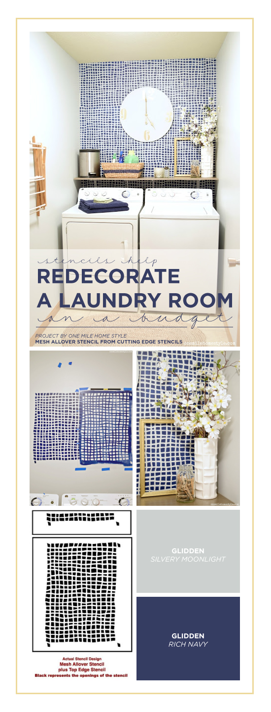 Cutting Edge Stencils shares A DIY stenciled laundry room makeover using the Mesh Allover Stencils, a geometric wall pattern. http://www.cuttingedgestencils.com/mesh-contemporary-stencil-grid-pattern.html