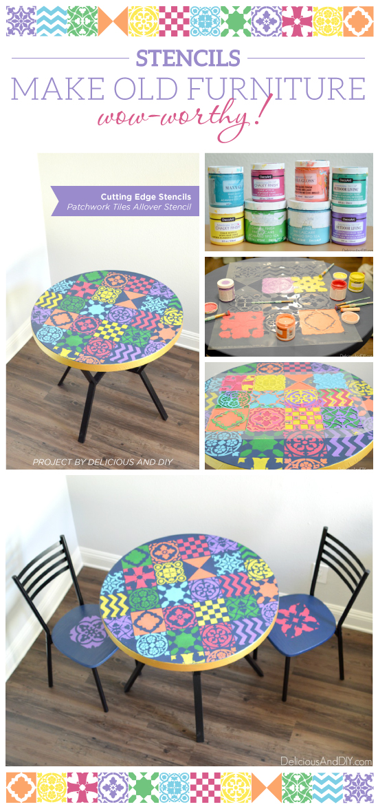 Cutting Edge Stencils shares a DIY dining table makeover using the Patchwork Tile Stencil Pattern. http://www.cuttingedgestencils.com/patchwork-tile-pattern-stencil-wall-tiles.html
