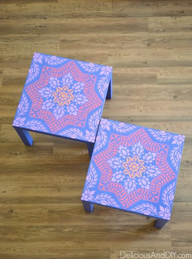 A DIY Ikea lack side table that was stenciled with the Alhambra Tile Stencil, a Portuguese tile pattern, from Cutting Edge Stencils. http://www.cuttingedgestencils.com/alhambra-tile-stencil-asulejos-spanish-tile-wallpaper.html