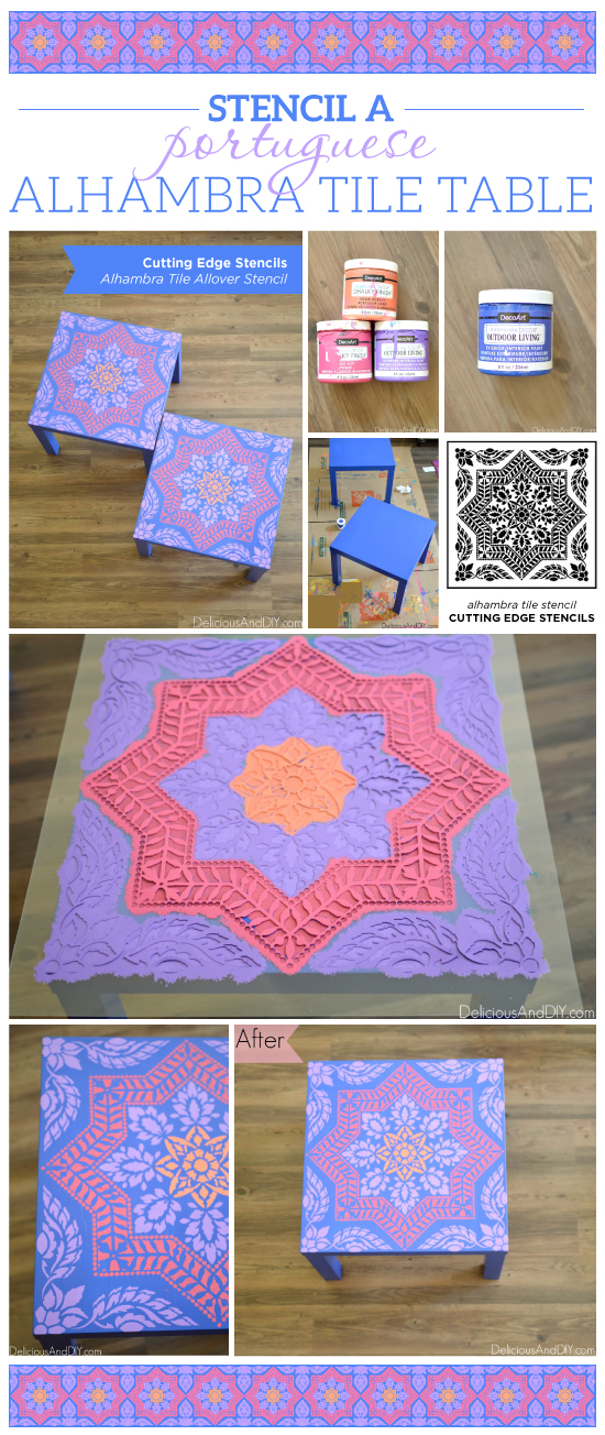 Cutting Edge Stencils shares A DIY Ikea Lack side table makeover using the Alhambra Tile Stencil pattern. http://www.cuttingedgestencils.com/alhambra-tile-stencil-asulejos-spanish-tile-wallpaper.html