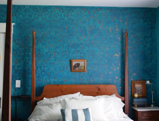 An blue ombre bedroom accent wall using the Anna Damask Stencil from Cutting Edge Stencils. http://www.cuttingedgestencils.com/damask-stencil.html