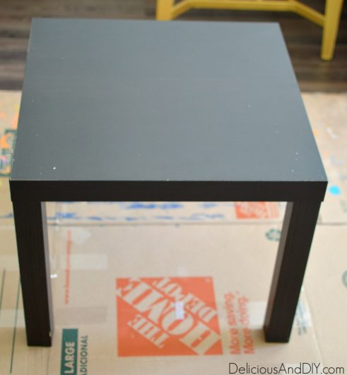 A small black Ikea Lack side table gets a paint and stenciled makeover. http://www.cuttingedgestencils.com/alhambra-tile-stencil-asulejos-spanish-tile-wallpaper.html