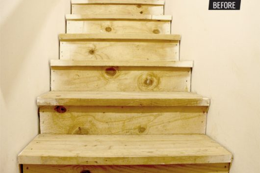Wooden stairs before a stenciled makeover. http://www.cuttingedgestencils.com/indian-inlay-stencil-furniture.html