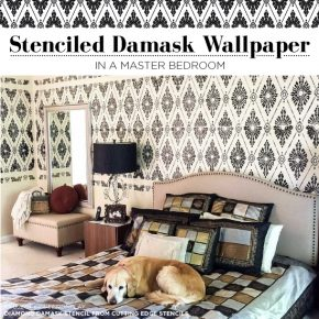 Cutting Edge Stencils shares a DIY stenciled master bedroom idea using the Diamond Damask Stencil to achieve a wallpaper look. http://www.cuttingedgestencils.com/damask-stencil-pattern.html
